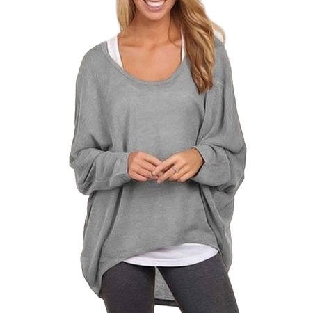 Ladies Loose High-low Hemline Long Sleeve Winter Crew Neck Top Oversized Tops Batwing Sleeve Autumn Pullover Shirts Baggy Knit Sweater (Wool Crewneck Sweater)