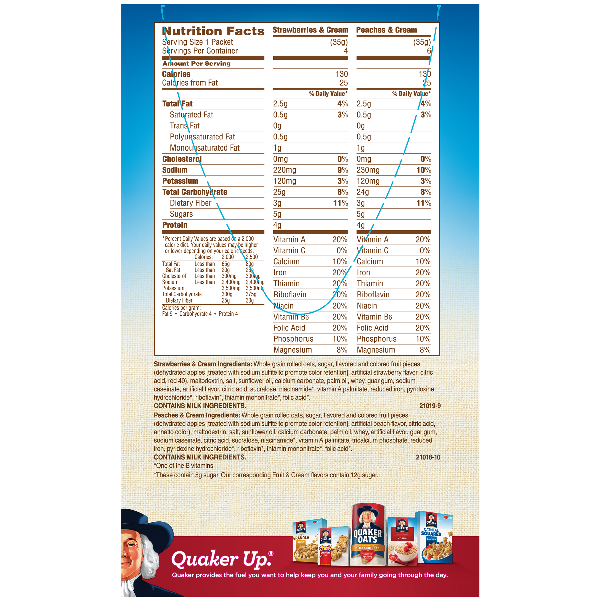 Quaker Original Instant Oatmeal Packet Nutrition ... Quaker Instant Oatmeal Maple And Brown Sugar