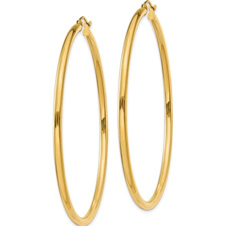 14k Yellow Gold Polished 2.5mm Lightweight Round Hoop (2.5x60mm) Earrings - image 1 of 3