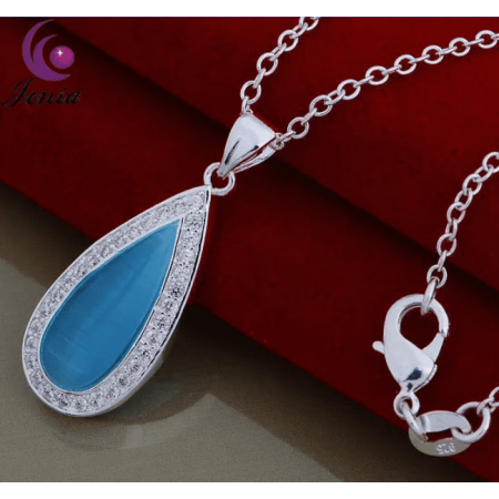 Aqua Titanium Necklace - Oceanic Aqua Pearl Cat Eye Waterdrop Necklace Aqua
