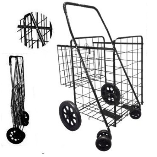 Double Basket Black Folding Utility Cart Folds Up Rolling Storage Shopping Carrier from SCF (BLACK) with RED BONUS LINER