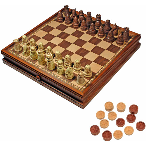 Medieval Chess and Checkers Game Set, Brown and Ivory Chessmen and Wood Board with Storage Drawers, 15""