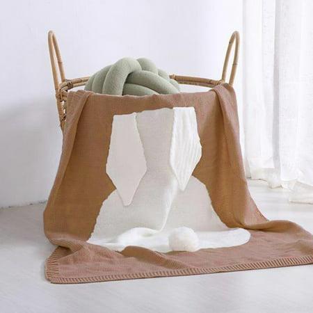 Baby Knitting Swaddle Bunny Ear Pompom Wraparound Sleeping Bag Swaddling Blanket Acrylic Nhl Baby Blanket