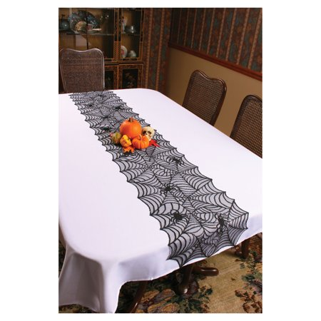 Long Black Lace Table Runner Spider Web With Spiders Halloween Decoration Decor - Halloween Table Runner Kit