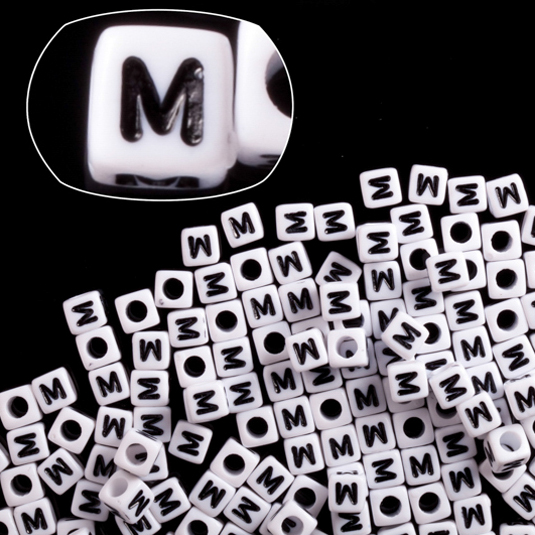 Letter M White Acrylic Cube Alphabet Beads 6mm 50Gram/329pcs