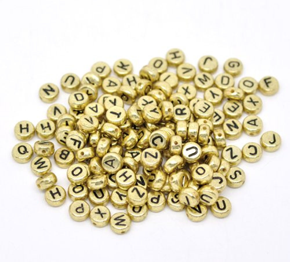 "450 Mixed Gold Tone Acrylic Alphabet /Letter ""A-z"" Coin Spacer, Loose Beads, 7x4mm Round"