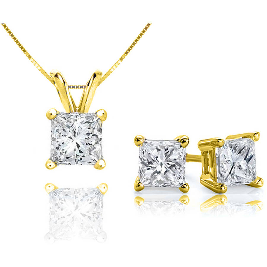 Chetan Collection 0.85 Carat T.W. Diamond 10kt Yellow Gold Princess-Cut Pendant and Earring Set