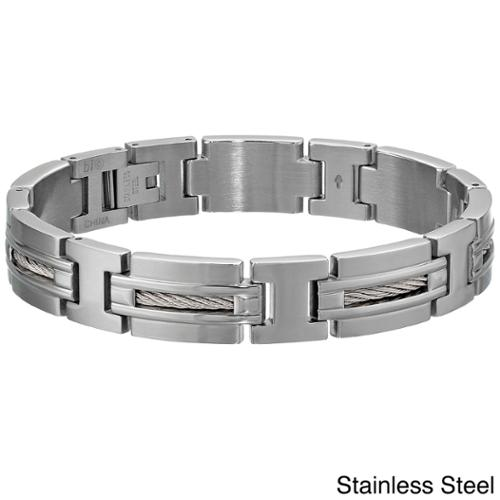 Stainless Steel Men's Cable Inlay Link Bracelet STAINLESS STEEL CABLE BRACELET