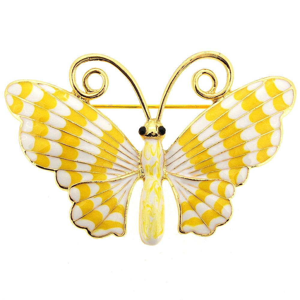White Yellow Enamel Butterfly Pin Brooch by