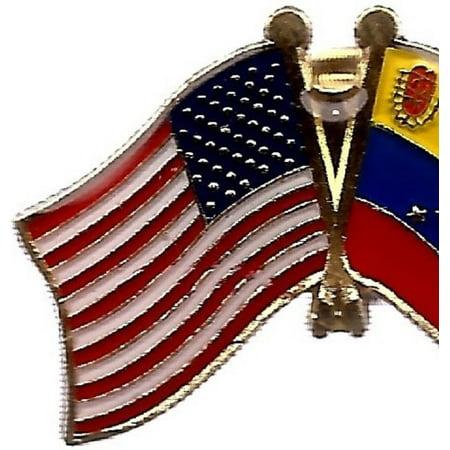 PACK of 3 Venezuela & US Crossed Double Flag Lapel Pins, Venezuelan &  American Friendship Pin Badge