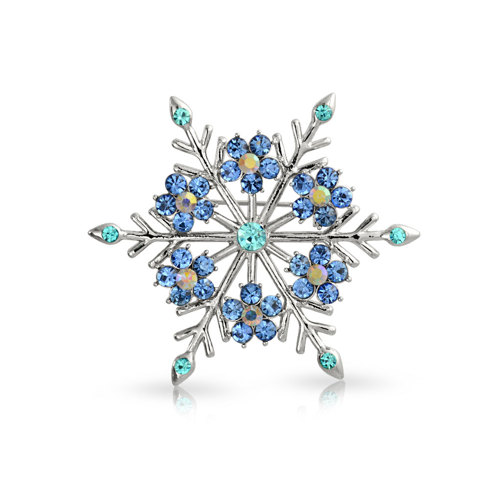 Bling Jewelry Crystal Christmas Flower Snowflake Brooch Pin Rhodium Plated by Bling Jewelry