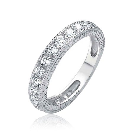 Pave AAA CZ Cubic Zirconia Thin Anniversary Wedding Band Ring For Women Etched Milgrain 925 Sterling Silver