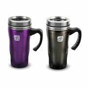 Design for Living 14 oz Double Wall Coffee Mugs, Smoke Gray and Purple, Set of 2