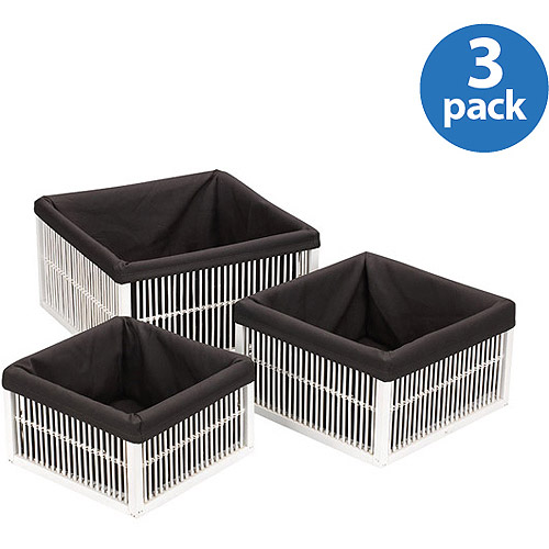 Household Essentials Fir/Bamboo Baskets, Set of 3