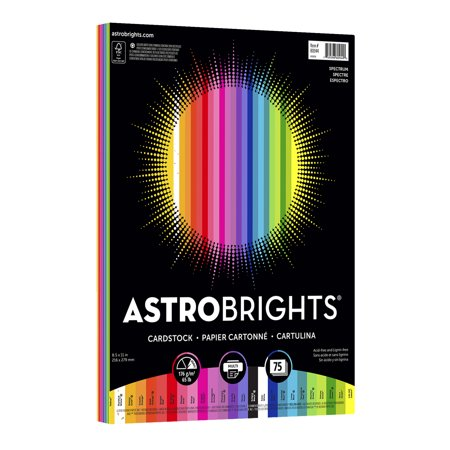 Astrobrights Colored Cardstock, 8.5 x 11, 65 lb., Spectrum Assort., 75