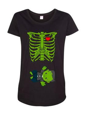 Baby Skeleton Baby Frankenstein Halloween Horror Funny Maternity DT T-Shirt Tee