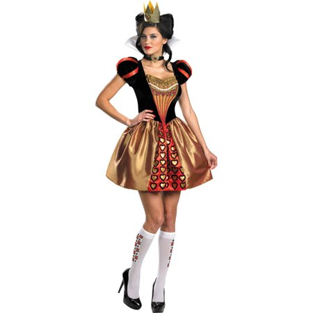 Alice in Wonderland Sassy Queen Adult Halloween Costume, Red (White Rabbit Halloween Costume Alice Wonderland)