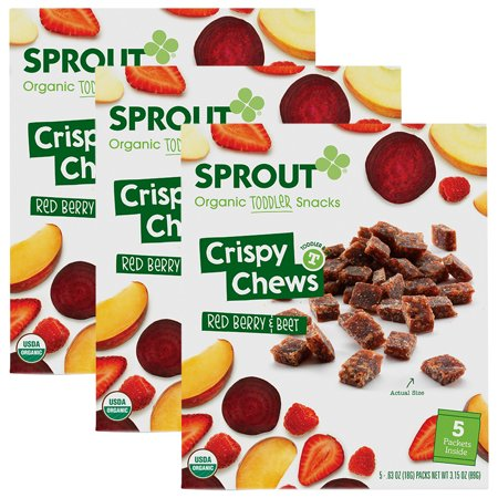 (3 Pack) Sprout Organic Toddler Snacks, Crispy Chews, Red Berry & Beet , 3.15 Oz, 5 Ct](Toddler Halloween Snacks)