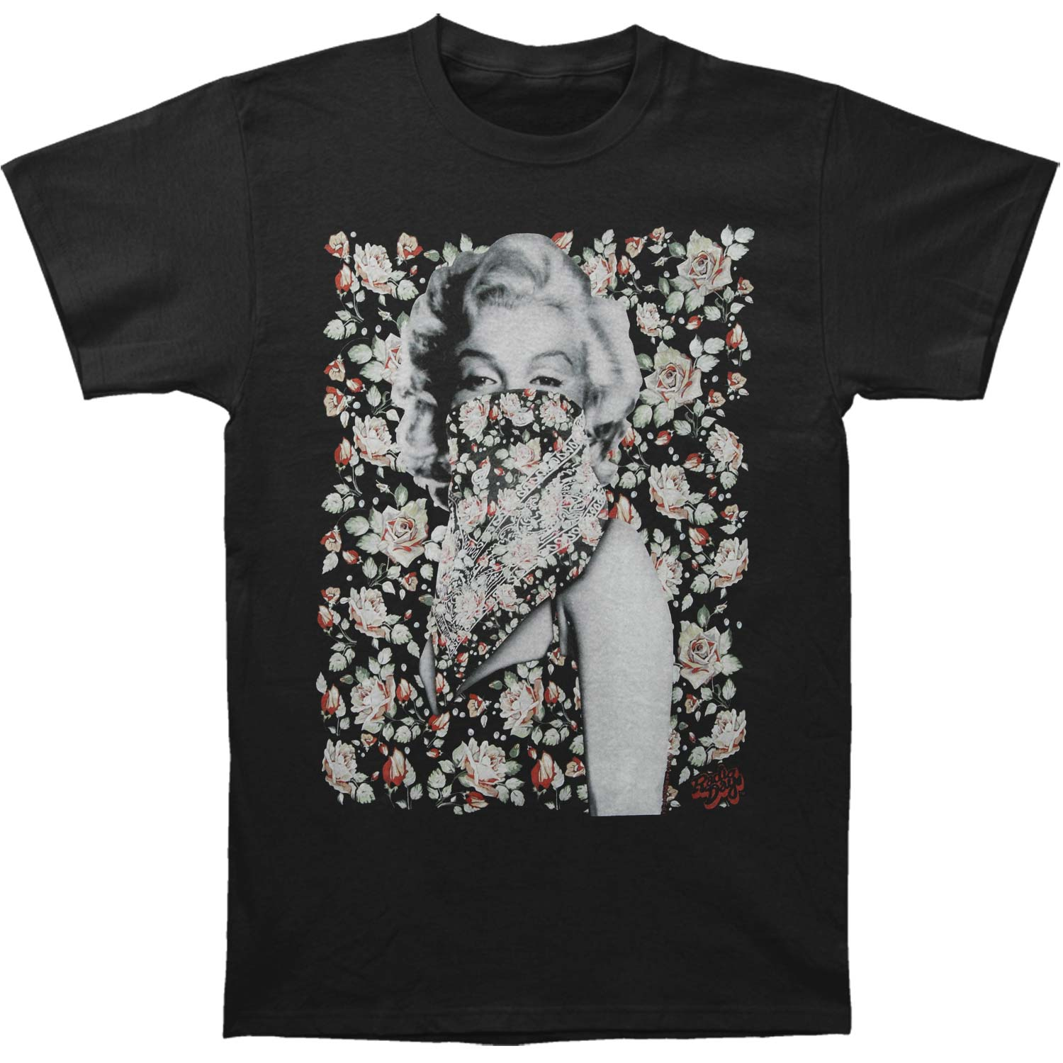 Marilyn Monroe Men's  Flowers T-shirt Black
