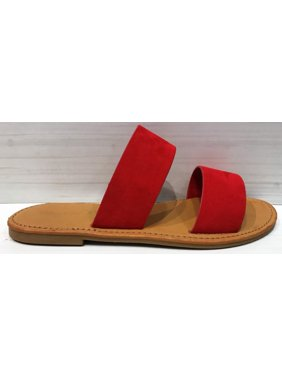 8608f49e136 Product Image Coastline-76S Women Open Toe Slip On Double Band Flip Flops  Slide Flat Sandal Red