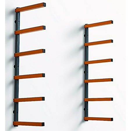 bora portamate pbr-001 wood organizer and lumber storage metal rack with 6-level wall mount - indoor and outdoor use