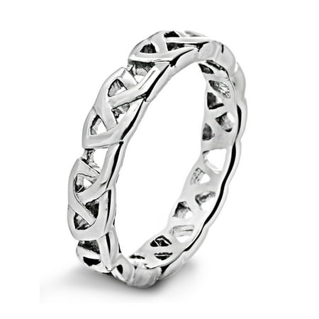 Stainless Steel High Polished Celtic Knot Eternity Ring - Stainless Steel Celtic Knot