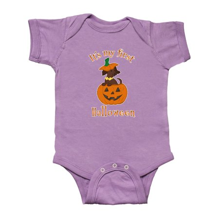 Cute Dachshund Puppy It's My 1st Halloween Infant Creeper