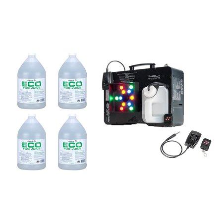 ADJ Fog Fury Jett Smoke Machine & LED Lights + Eco-Fog Juice Fluid, 4 Gallons