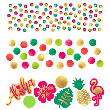 Hawaiian Luau 'Aloha' Confetti Value Pack (3 types) - Food For Hawaiian Luau