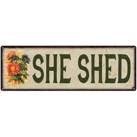 Garden She Shed Patio Vintage She Cave Diva Den 6x18 Metal Sign