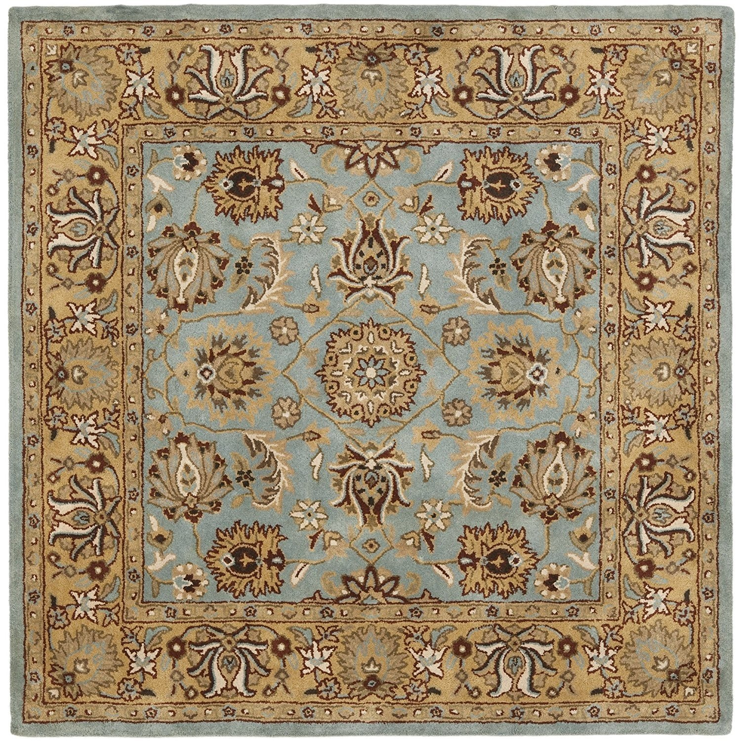 Safavieh Heritage Collection Hg958a Handcrafted Traditional Oriental Blue And Gold Wool Square Area Rug 10 Square