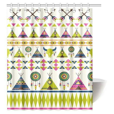 MYPOP Arrow Decor Shower Curtain Cute Indie Ethnic Western Indian Arrows Traditional Aztec Tribal Culture