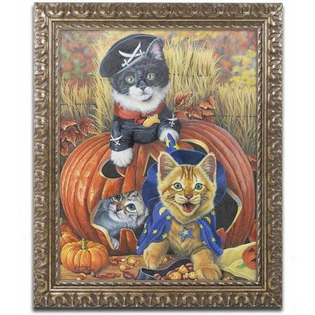 Jenny Halloween (Trademark Fine Art 'Halloween Kittens' Canvas Art by Jenny Newland, Gold Ornate)