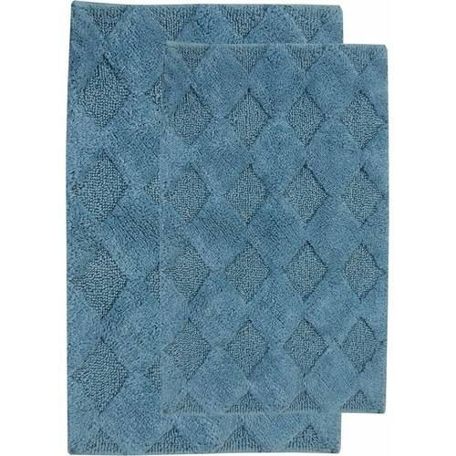Saffron Fabs Bath Rug 2-Piece Set, Solid Color Diamond Pattern, Assorted Colors and Sizes