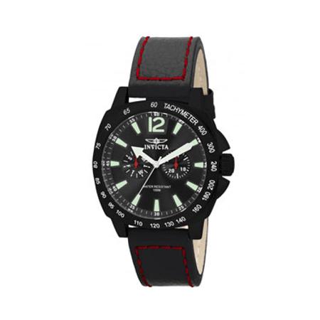 Invicta Men's Leather Strap Swiss Watch - Black