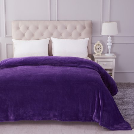 Large Lightweight Soft Plush Fleece Blanket For King Bed Sofa Couch Solid Purple Printed 90