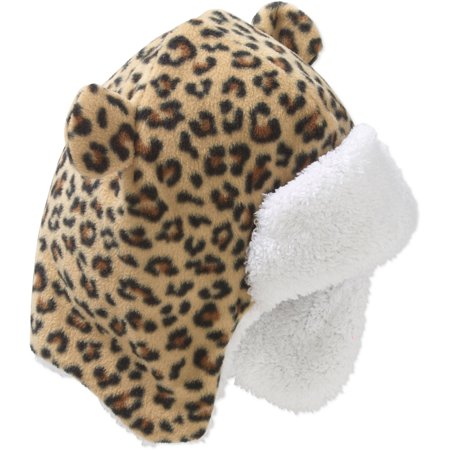 Fleece Leopard Hat (Frostline Essentials Baby Toddler Girl Bear Eared Fleece Trapper Hat )