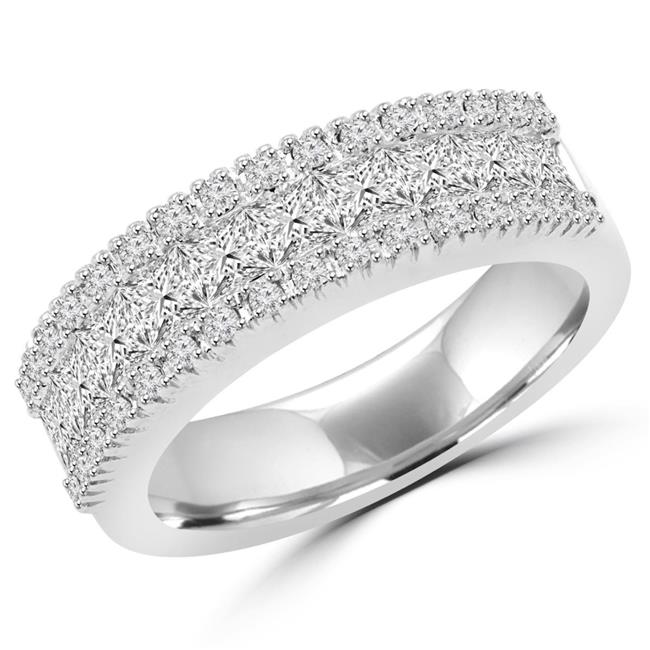 Majesty Diamonds MDR150005-7.25 1.25 CTW Antique Vintage Princess & Round Diamond Wedding Band Anniversary Ring in 14K White Gold - 7.25 - image 1 of 1