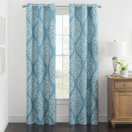 Mainstays Leaf Medallion Dobby Print Room Darkening Curtain