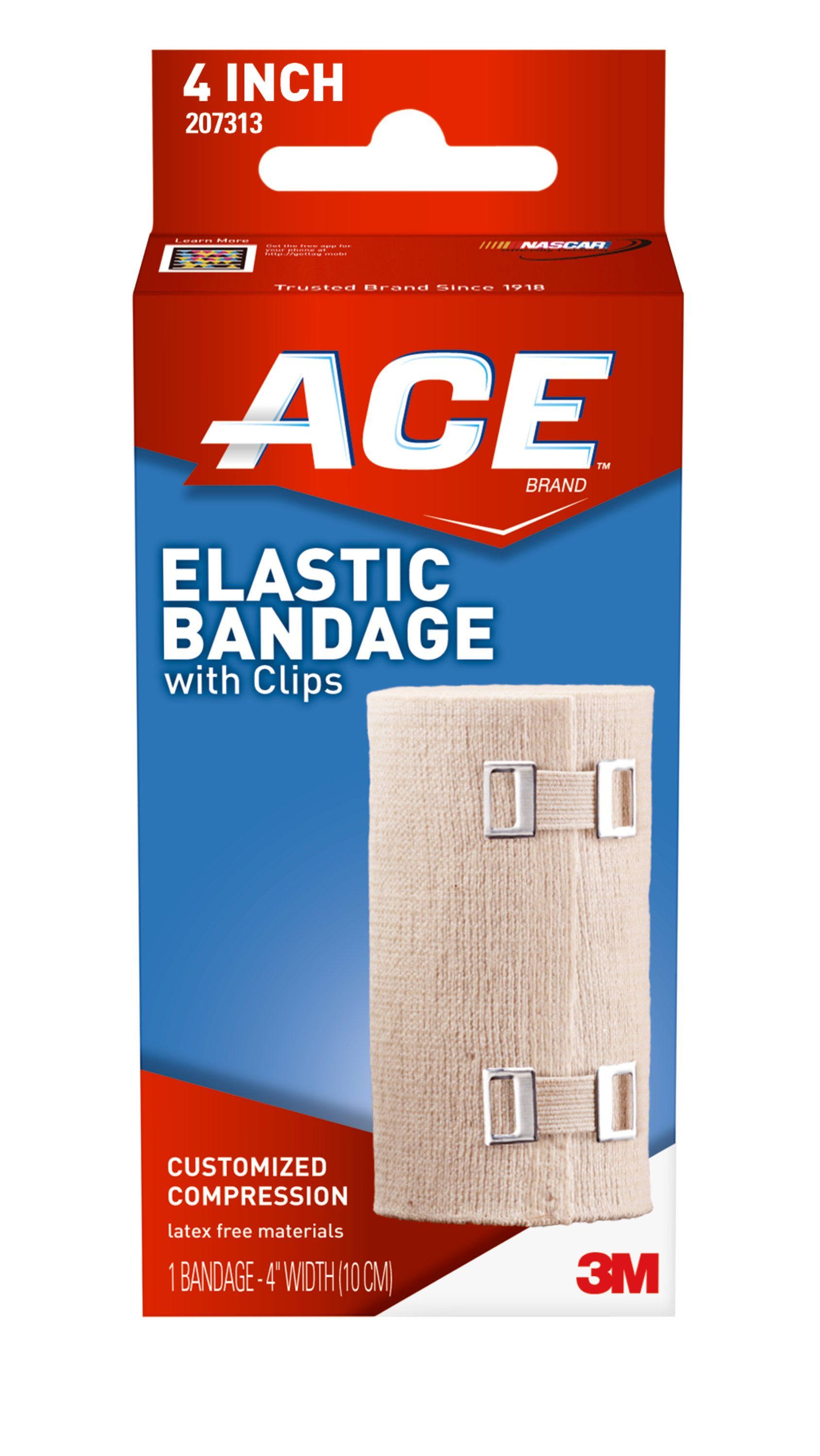 ACE Brand Elastic Bandage W/ Clips, 4 In