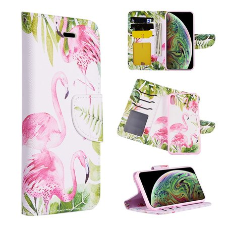 Insten Flamingo Land Stand Book-Style Leather [Card Slot] Wallet Flap Pouch Case Cover For Apple iPhone XR, Multi-Color - image 1 de 1