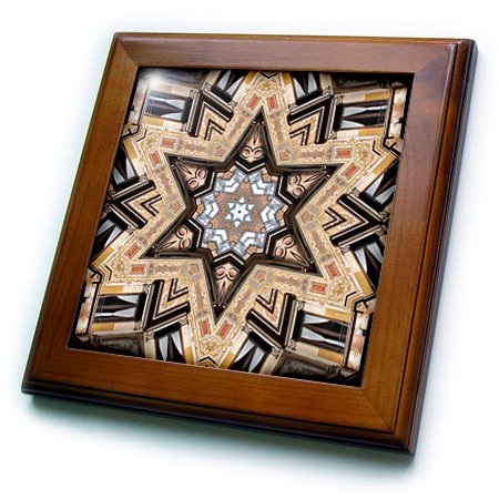 Architectural Star - 3dRose Architectural Star of David - Judaism star of David architecture design - Framed Tile, 6 by 6-inch