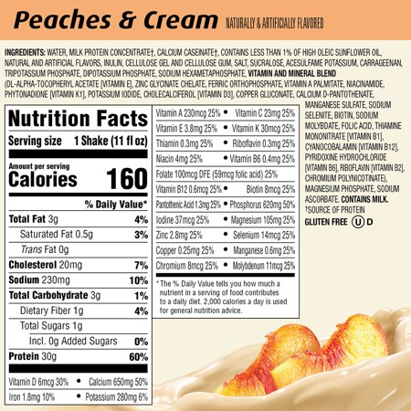 Premier Protein Shake, Peaches & Cream, 30g Protein, 11 fl oz, 4 ct