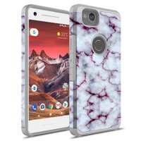 Google Pixel 2 XL Case, KAESAR SLIM FIT SLEEK Hybrid Dual Layer Shockproof Hard Cover Graphic Fashion Cute Colorful Silicone Skin For Google Pixel 2XL (Purple Marble)