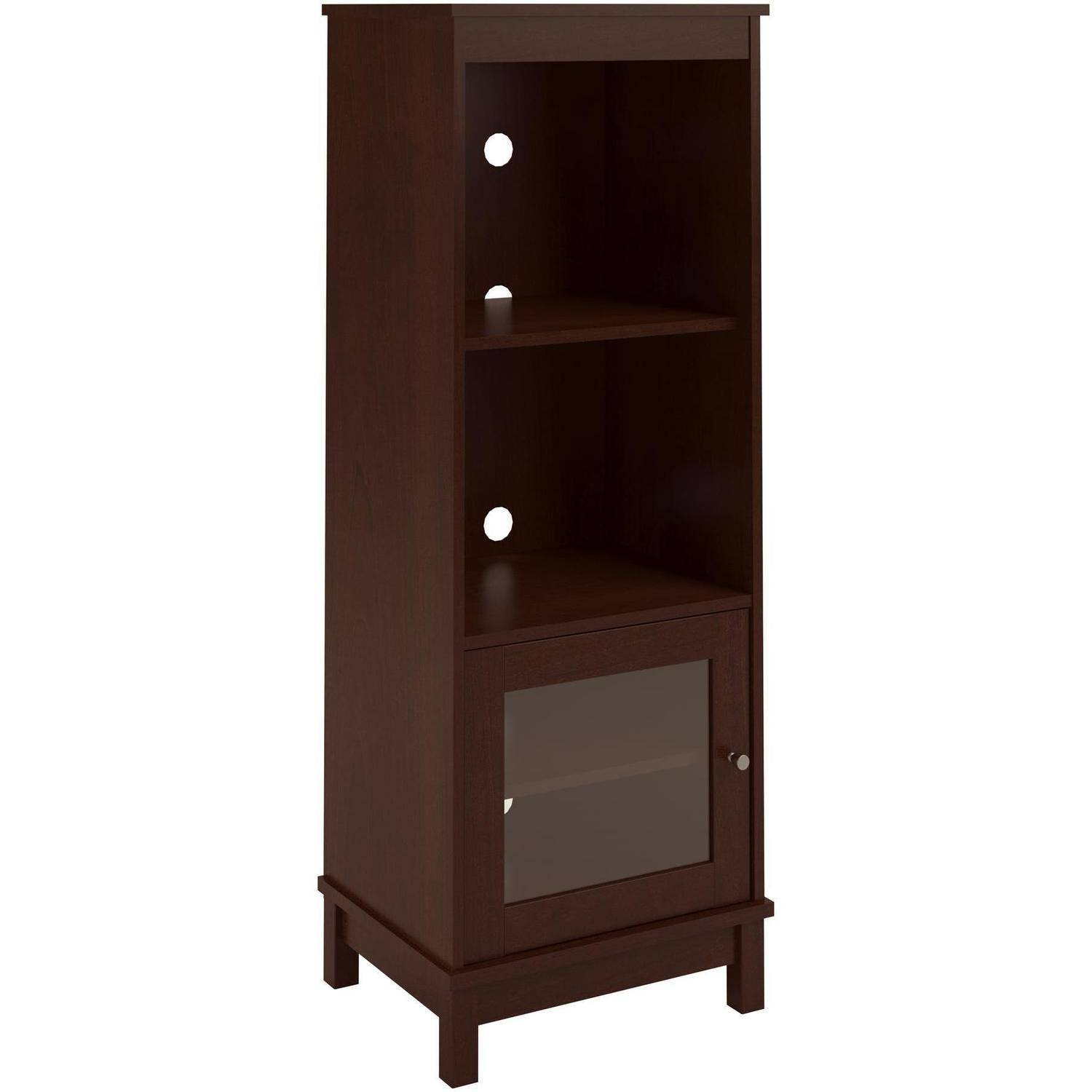 Audio Pier Side Tower Cabinet Entertainment cherry Media TV Center ...