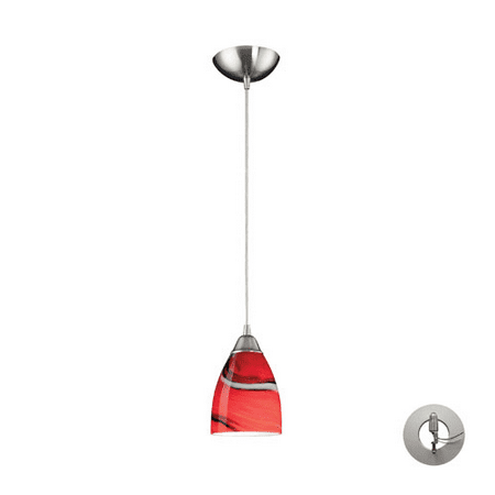 Pendants 1 Light With Satin Nickel Finish Candy Glass Medium Base 5 inch 60 Watts - World of -