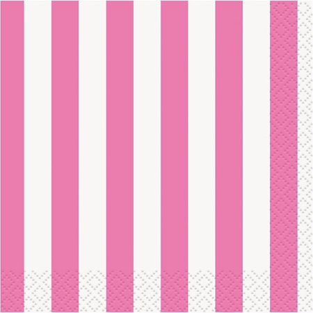 Striped Paper Luncheon Napkins, 6.5 in, Hot Pink, (Hot Pink Napkins)