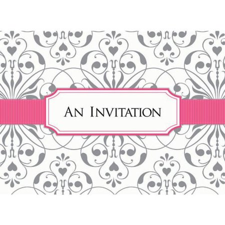 Bridal Shower Pink and Silver Damask Invitations w/ Envelopes (8ct)