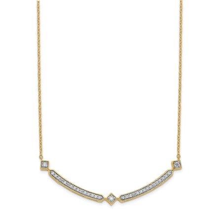 KIOKORI 14K Yellow Gold Diamond Curved Bar Necklace 1/3-Carat