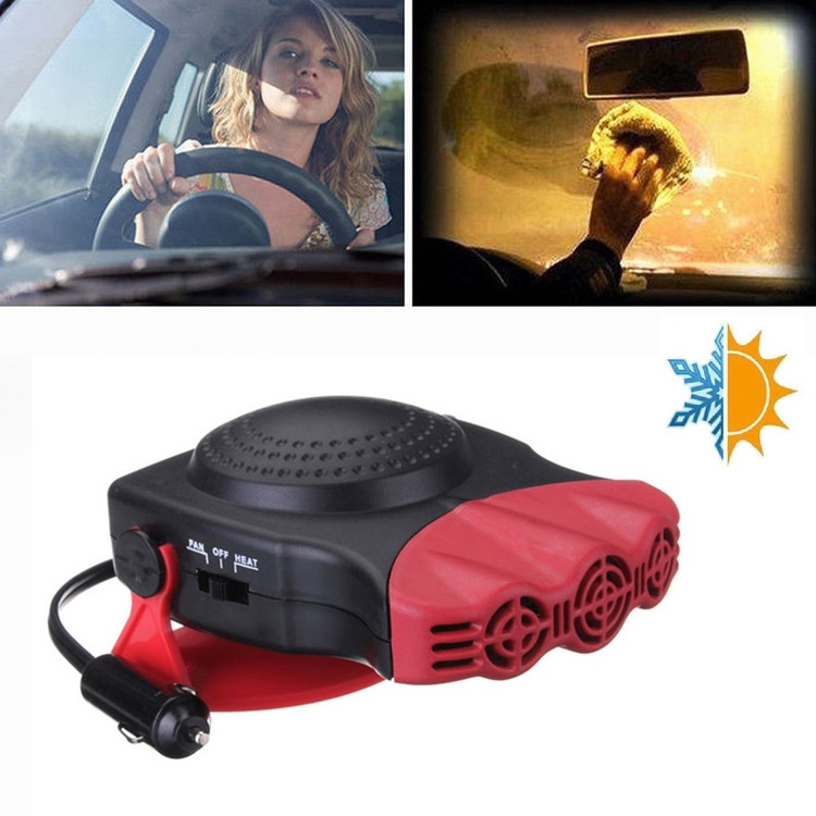 Portable Car Heater and Fan, Fast Heating Quickly Defrosts Defogger 12V Auto Ceramic Heater Cooling Fan 3-Outlet Plug In Cig Lighter